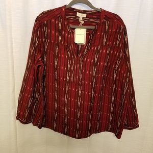 Lucky Plus Size Ikat Popover Shirt Red Sz 2X